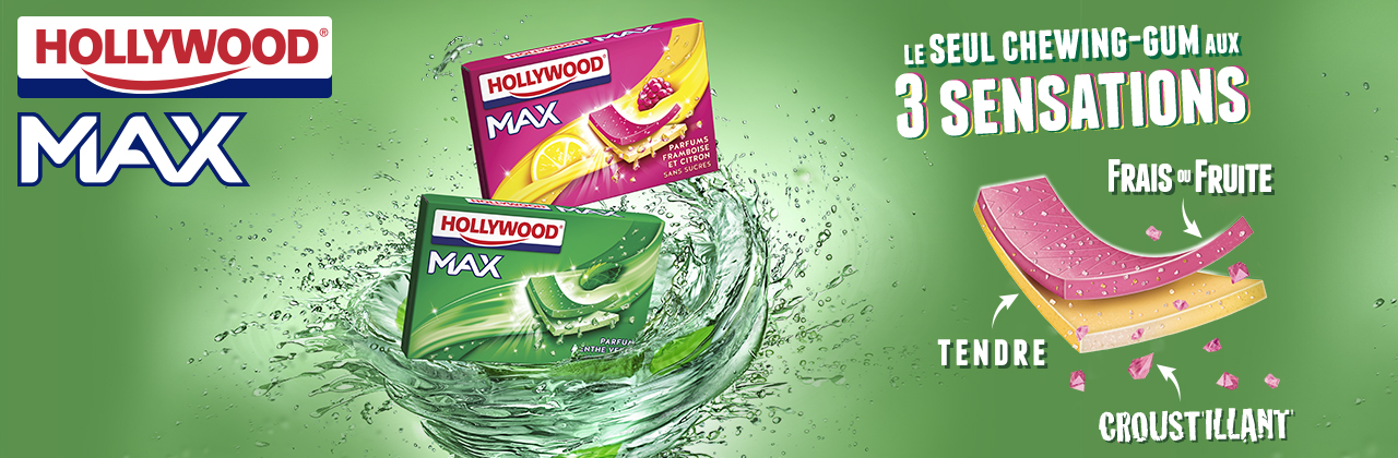Actualité - chewing - gum - Hollywood - Max - 3 sensations