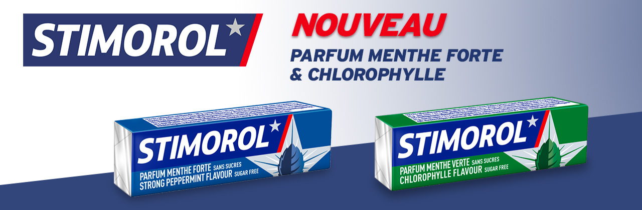 Actualité - chewing - gum - Stimorol - Menthe - forte - Chlorophylle